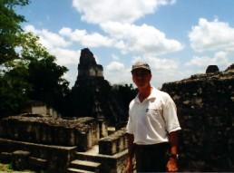 Bob Landstrom at Tikal ruins Guatemala 1999