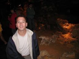 Bob Landstrom with 30K year old rhino skull in Koneprusy Cave Czech Republic 2002