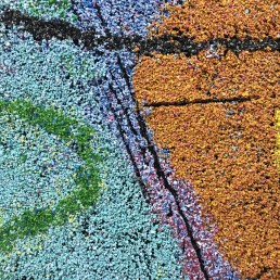 Detail of painting by Bob Landstrom, volcanic rock on canvas